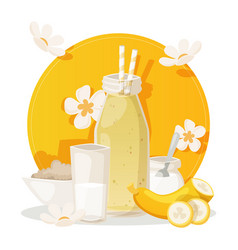 banana smoothie ingredients for fresh healthy vector image