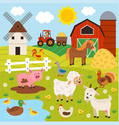 basic rgbfarmer and happy animal farm vector image