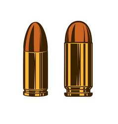 bullet cartridge from hand gun design element vector image