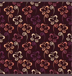 butterfly hand drawn pattern with brown color vector image