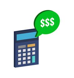 calculator and dollar symbol flat isometric icon vector image