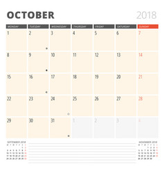 calendar planner for october 2018 design template vector image