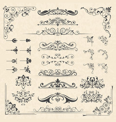 calligraphy borders corners classic vintage vector image