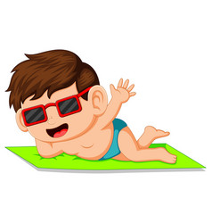 Cartoon boy lying on the mat vector