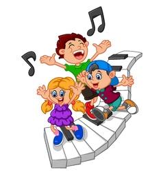 Cartoon kids and piano vector