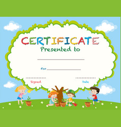 Certificate template with kids planting trees vector