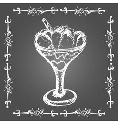 Chalk ice cream in glass with cinnamon stick vector image