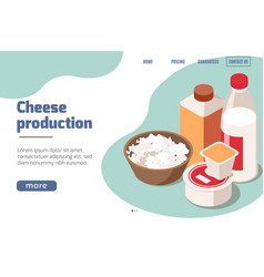 cheese production isometric website vector image