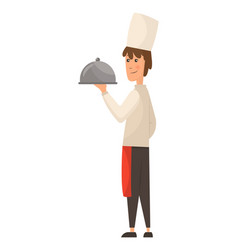 child in a cook cap holding dish with food logo vector image