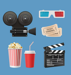 cinema 3d icons movie camcorder clapperboards vector image
