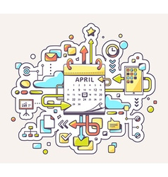 colorful of business meet date with calendar vector image