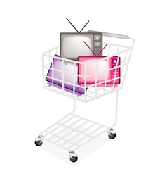 Colorful Retro Television in A Shopping Cart vector image