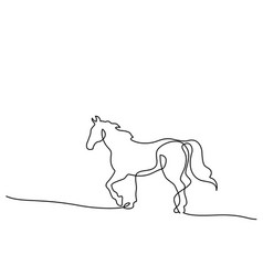 Continuous one line drawing horse logo vector