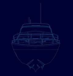 contour motorboat wireframe sports boat of blue vector image