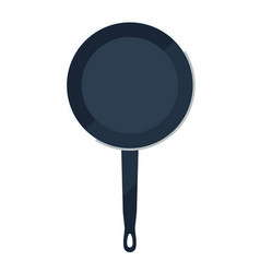 Cooking pan flat icon with handle vector