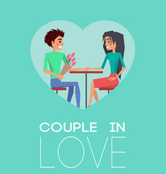 couple in love heart poster vector image