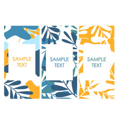 covers with flat tropical palm leaves pattern vector image