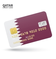 Credit card with qatar flag background for bank vector