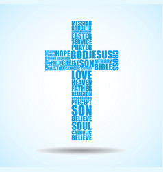 cross of religious words vector image