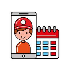 customer man smartphone online shopping vector image