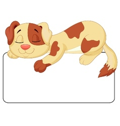 Cute dog cartoon sleeping on the white blank label vector