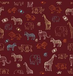 cute hand drawn african animal safari seamless vector image