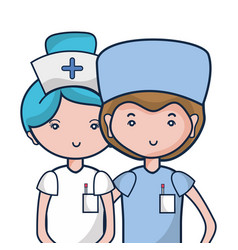 Doctor and nurse to help people vector