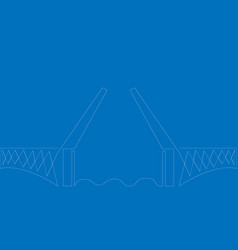 Drawbridge one line blue background vector