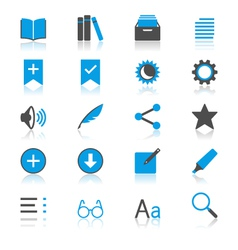 E-book reader flat with reflection icons vector image