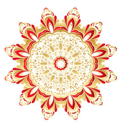 floral gold and red round ornament vector image
