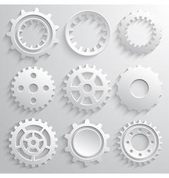 Gear wheels icon set Nine 3d gears on a gray vector