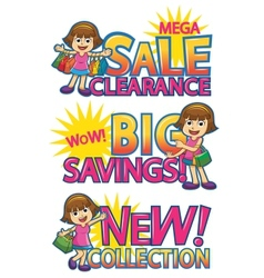 girl shoppingsticker vector image