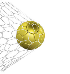 Golden realistic soccer ball or football vector