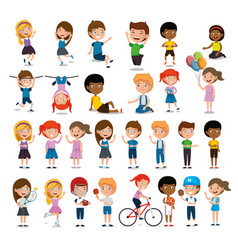 group of happy kids practicing sports characters vector image