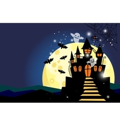 halloween background with moon and castle vector image