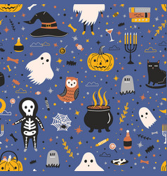 Halloween seamless pattern with adorable spooky vector