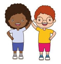 happy boy and girl vector image