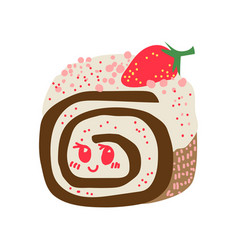 happy cute delicious roll cake cartoon character vector image