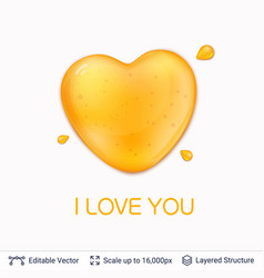 heart shaped honey drop and text vector image