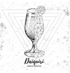 Hipster realistic and polygonal cocktail daiquiri vector