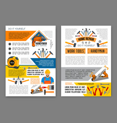 home repair work tool banner template set vector image