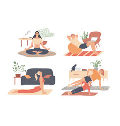 home workout people doing exercises man woman vector image