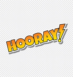hooray cartoon text sticker vector image