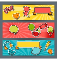 Horizontal banners with sticker kawaii doodles vector