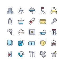 hotel icons thin line set vector image