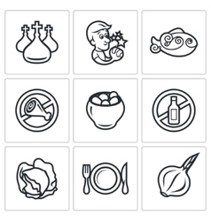 Lent celebration of Orthodox believers icons set vector image