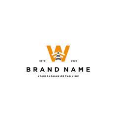 Letter w wireless logo design vector