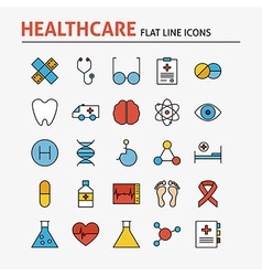 Line Health Care and Medicine Colorful Flat Icons vector image