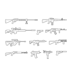 Machine guns and pistols line icons set vector