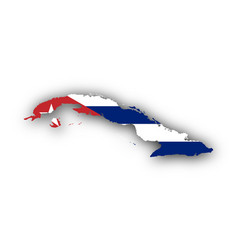 map and flag of cuba vector image